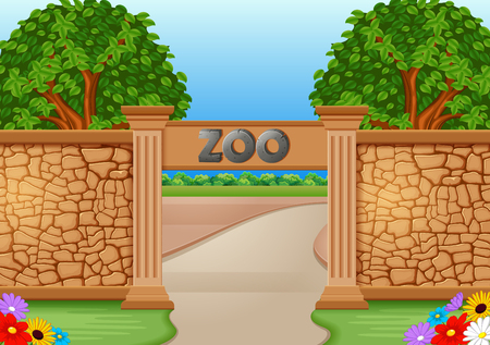 Zoo in a beautiful nature illustration.  イラスト・ベクター素材