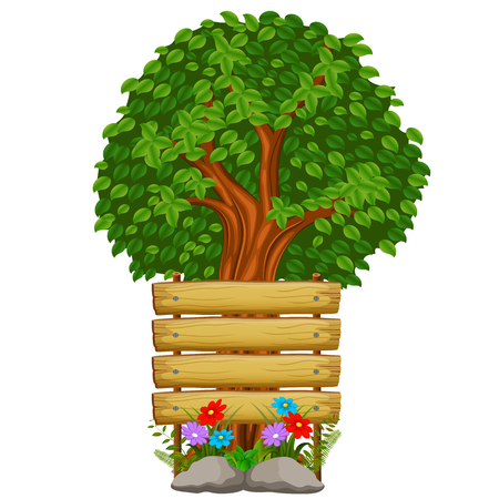 Wooden sign and trees illustration.
