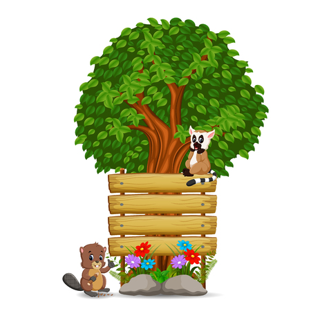 Wooden sign template with lemur and beaver illustration.
