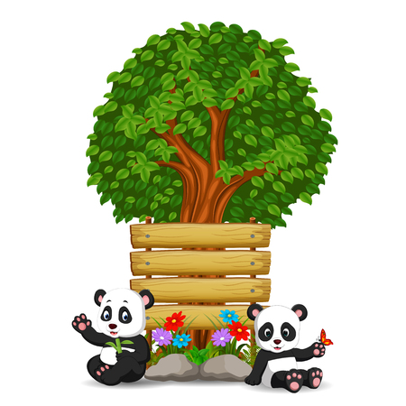 two pandas in front of an empty wooden signboard Stock Photo