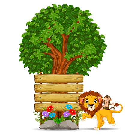 lion in front of an empty wooden signboard