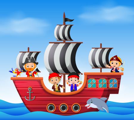 Children on pirate ship and ocean scene Stock Photo