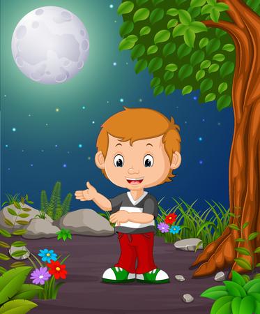 A boy under the bright full moon