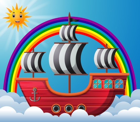pirate ship in the sky illustration Stock Photo