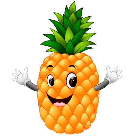 Pineapple with face Stock Illustratie