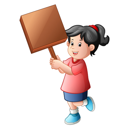 Girl holding blank wood sign