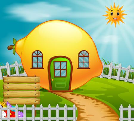 lemon house in garden Vector illustration. Çizim