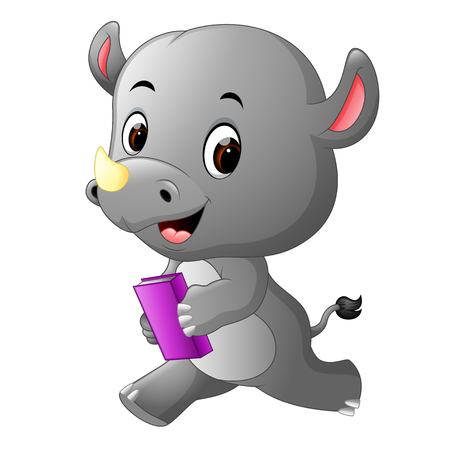 Cute rhino holding book