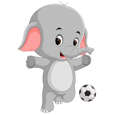 Cute elephant cartoon with ball Vettoriali
