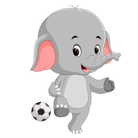 Cute elephant cartoon with ball Ilustração