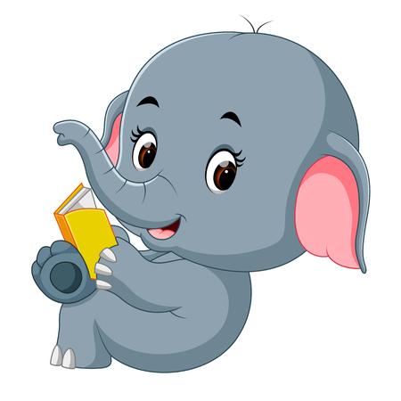 Cute elephant reading a book.