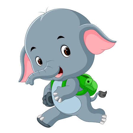 Cute elephant with backpack