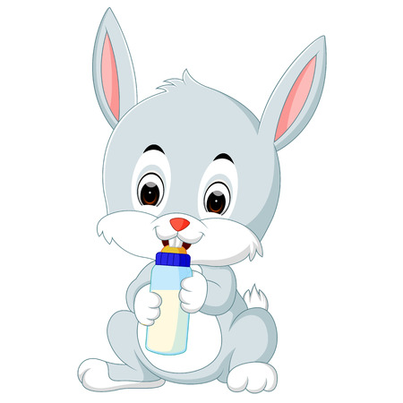 Cartoon cute bunny holding bottle milk with nipple