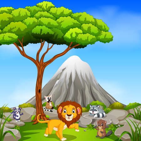 Lion in the jungle with mountain scene illustration. Illustration