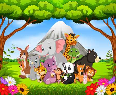 Wild animals in the jungle with a volcano on the background Illustration