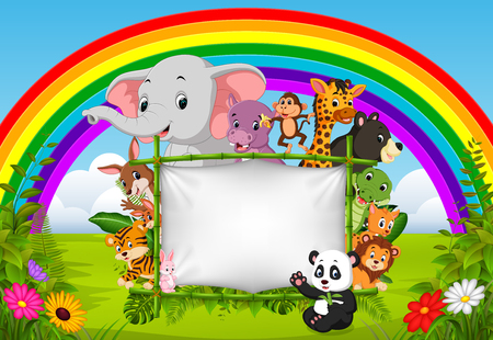 wild animal standing on a bamboo frame with rainbow scene