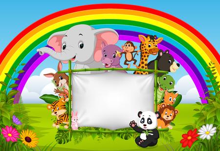 wild dier staande op een bamboe frame met regenboog scène