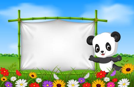 Cartoon panda standing on a bamboo frame