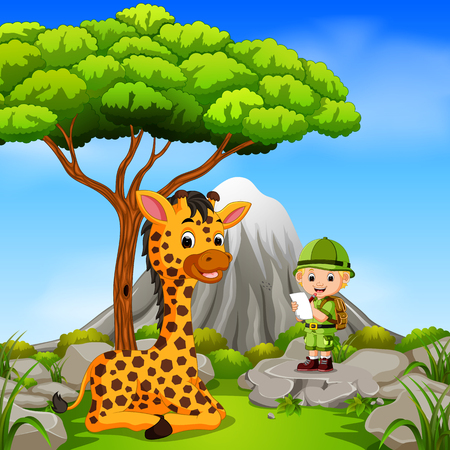 adventurer and giraffe posing with mountain scene Illustration