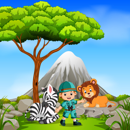 adventurer and wild animal posing with mountain scene Vectores