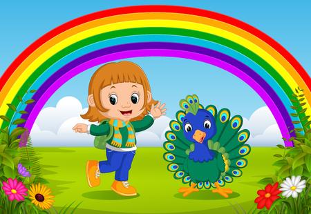 cute girl and peacock at park with rainbow scene Ilustração