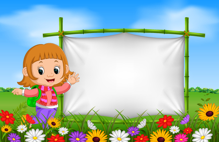 Cute girl beside a frame made of bamboo in garden illustration.