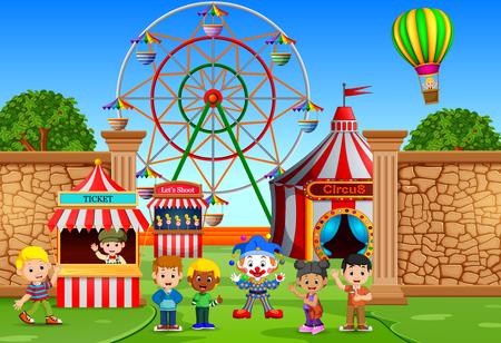 Childrens having fun in amusement park Stock Illustratie