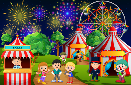 Many Childrens and people worker having fun in amusement park at night