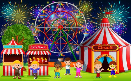 Many Children having fun in carnival at night