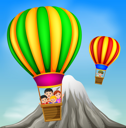 hot air balloons flying with happy kids and mountain scene