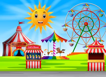 Amusement park scene at daytime with cute sun 일러스트
