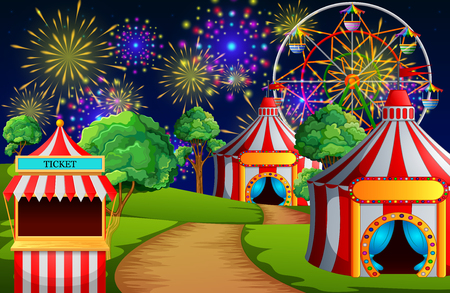 Amusement park scene with circus tent and firework illustration.