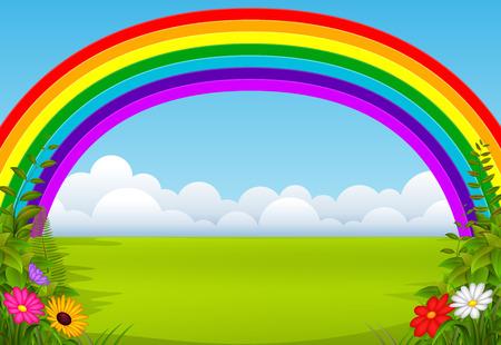 An enchanting garden with a rainbow Ilustracja