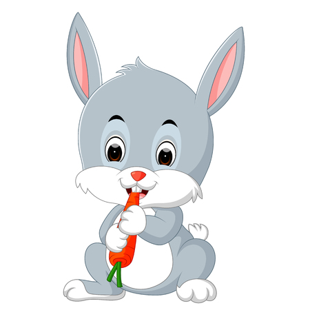 Cartoon happy rabbit eating carrot Stock Photo