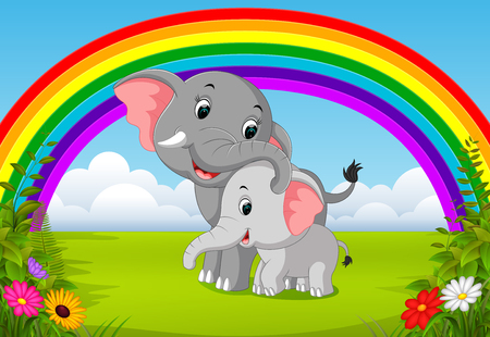 elephant and baby elephant at jungle with rainbow scene