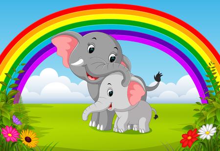 olifant en babyolifant bij jungle met regenboogscène Stockfoto