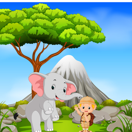 Zookeeper and elephant posing with mountain scene Stock Photo