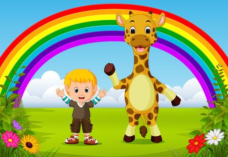 cute boy and giraffe at park with rainbow scene Imagens