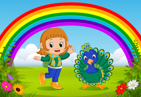 cute girl and peacock at park with rainbow scene Imagens