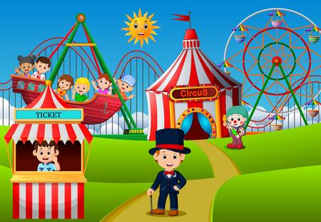 People having fun in amusement park Stock Photo