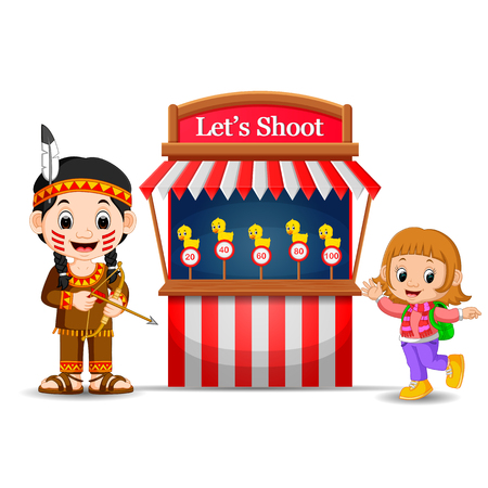 Cartoon girl using indian costume at the circus game booth Stock Photo