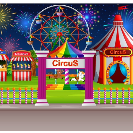 Amusement park scene with circus tent and firework Stock Photo