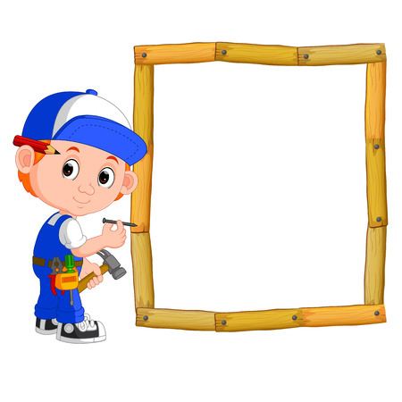 Carpenter with hammer and wood frame