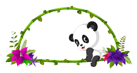 Frame of bamboo and baby panda Illustration