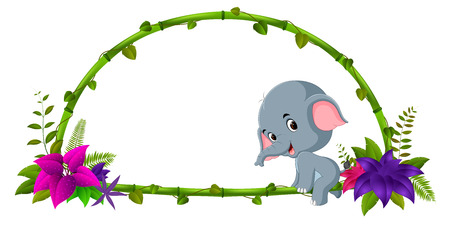 Frame of bamboo and baby elephant