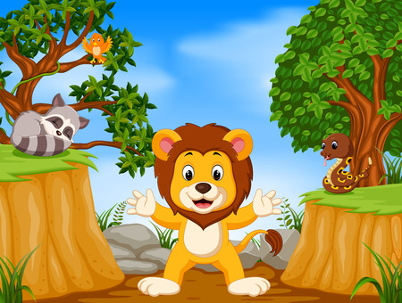 Lion and wild animal with mountain cliff scene
