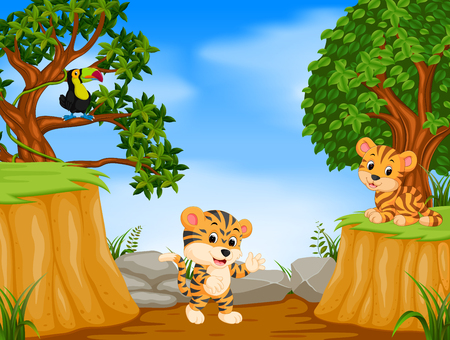 two tiger and toucan with mountain cliff scene 版權商用圖片 - 95374731