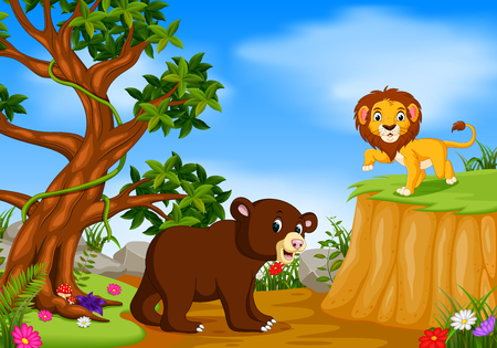 bear and lion with mountain cliff scene Illustration