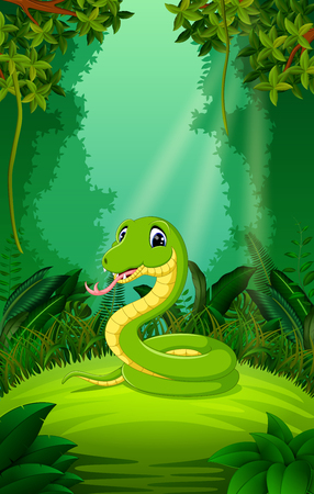 Snake in the clear and green forest Illustration