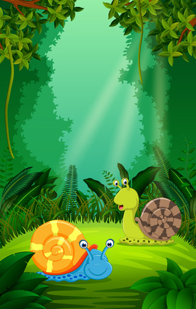 Snail in the clear and green forest Illustration